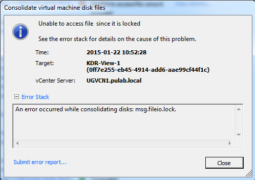 consolidate virtual machine disk files